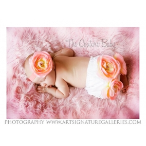 Peach Flower Bloomers & Headband Photo Prop Set