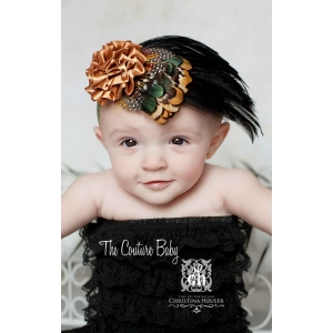 Tan & Black Feather Embellished Fall Color Headband