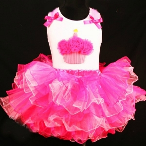 Hot Pink & Pink Fluffy Cupcake 2 pc Set