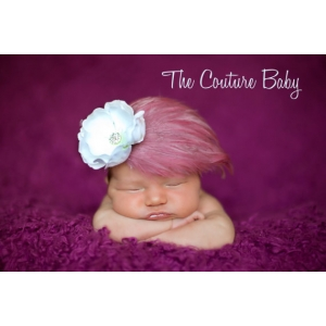 Vintage Rose Mauve & White Feather  & Flower Headband