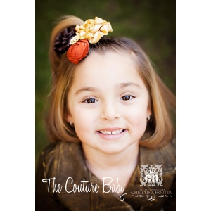Gold-Brown & Burnt Orange Rosette Cluster Shimmer Headband