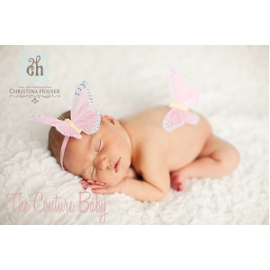 NewBorn Sleeping Butterfly Pink Headband Set Photo Prop