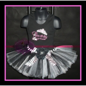 First Birthday Princess Zebra Tutu Set
