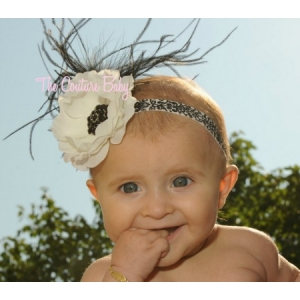 Black & White Flower & Ostrich Feather Vintage Hollywood Damask Headband