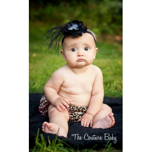 Black Flower & Ostrich Feather Zebra Embellished Headband