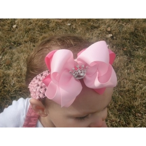 Hot Pink & Light Pink Princess Crown Bow & Headband