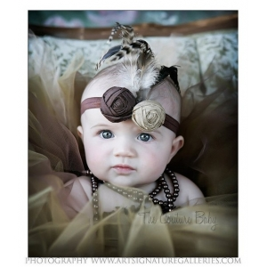 Brown & Khaki Dupoini Silk Indian Princess Headband