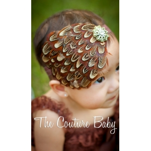Brown Organic Feather Headband