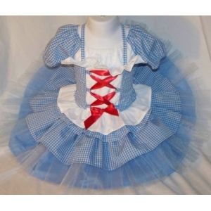 Wizard of Oz Blue & White Dorothy Ruffle Skirt & Corset Top 2 Piece Set