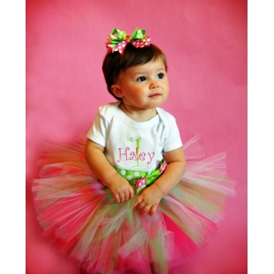 Strawberry Daiquiri Hot Pink & Lime Green Personalized Tutu Set