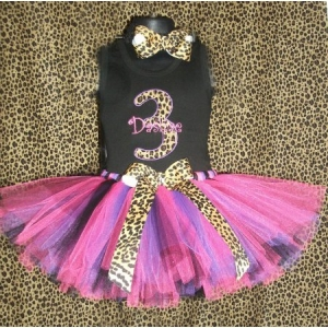 Leopard Cheetah Lady Personalized Birthday Hot Pink & Purple Tutu Set Age 1, 2, 3, 4, 5, 6,