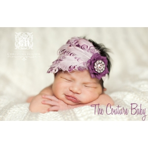 Purple & Pink Feather & Flower Accent Headband