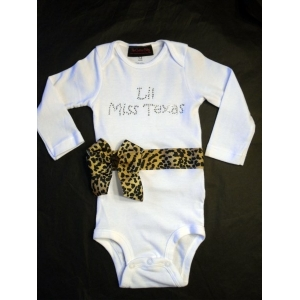 "Personalized ""Lil Miss State"" Swarovski Crystal Onesie or T-shirt"
