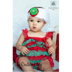 Christmas Red & Green Lace Petti Romper