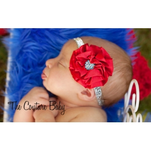 Red Satin Ruffle & Blue Crystal Headband