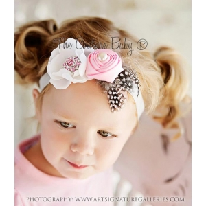 Pink Rosette & Cream Flower Headband