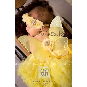 Yellow Lemon Drop Sequin Butterfly Wing & Headband 2 Pc Photo Prop Set