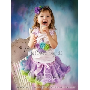 Sweet Cakes Cupcake Lavender, Aqua & Lime Petti Skirt 2 Pc Set