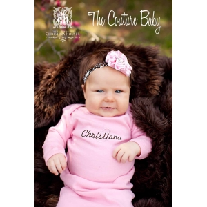 Leopard Lady Pink Layette Gown