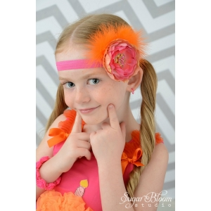 "Hot Pink & Orange Marabou ""Tropical Punch"" Headband"