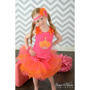 Tropical Cupcake Hot Pink & Orange Layered Tutu Set