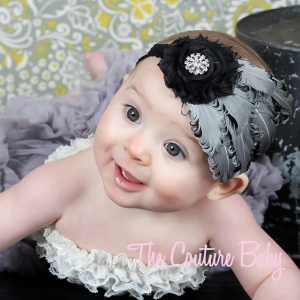 "Silver & Black Feather & Flower ""Elegant"" Headband"
