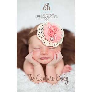 Salmon Pink Ivory & Brown Shabby Crochet Accented Headband