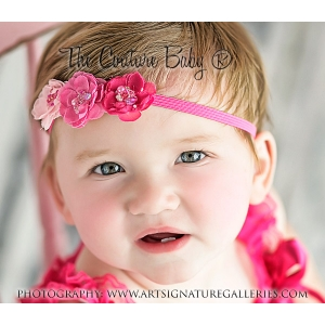 Triple Pink Flower Headband