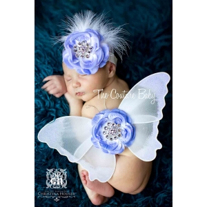White Sequin & Dusty Blue Crystal Butterfly Wing & Headband Set