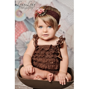Chocolate Brown Opulence Jeweled Lace Headband