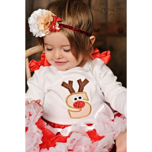 Rudolph Reindeer Personalized Initial Christmas Onesie or Top