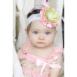 Pink & Green Flower & Feather Soft Pastel Lace Headband