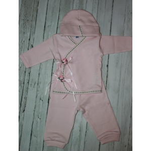 Pink Satin Rose 3 Piece Take Me Home Layette  Set