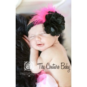Little Diva Hot Pink & Black Feather Floral Headband