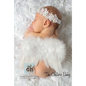 Angel Baby Newborn White Feather Wings