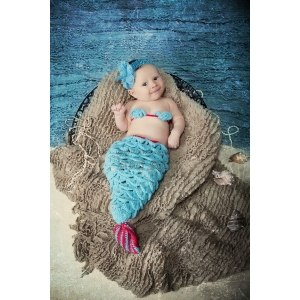 Hot Pink & Aqua Mermaid Crochet Set