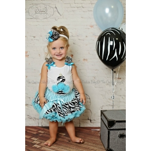 Aqua Zebra Cupcake Pettiskirt Set One Two Three Four