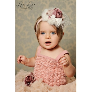 Dusty Rose Antique Pearl Headband