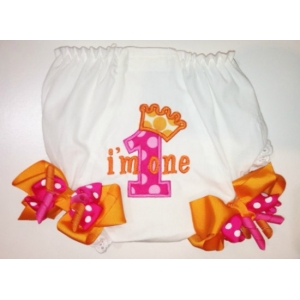 Hot Pink & Orange First Second Third Personalized Princess Diaper Cover