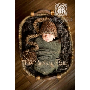 Brown Crochet Pom Pom Hat Newborn Boys Photo Prop