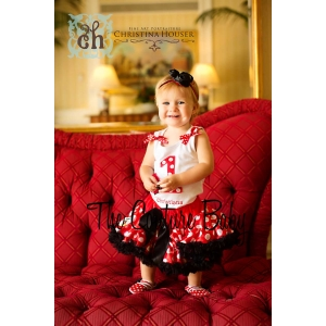"""I'm One"" Red & White Polka Dot Minnie Petti Skirt Set"