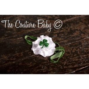 "White Flower and Green Shamrock ""Lucky Clover"" Sparkle Headband"