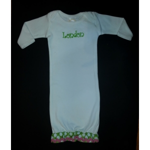 Embroidered White, Lime, Pink Personalized Layette Gown