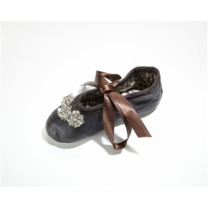 Brown Sequin Flower Leather Ballet Slippers
