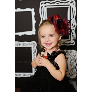 Red & Black Leopard Floral, Crystals & Veil Top Hat