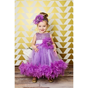 Purple Pizazz Sparkle Feather Dress
