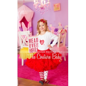 Red Sparkle Heart Initial Shirt or Onesie