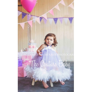 Lavender Dream Tulle Feather Dress