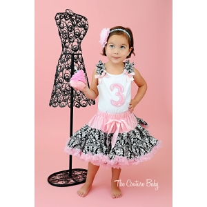 Damask Ruffle Birthday Pettiskirt Set Choice of Age