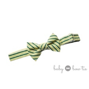 Green, Yellow & White Stripe Baby Bow Tie